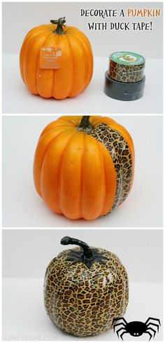 Leopard Ducktape Pumpkin - Easy decorations that the kids can personalize. They can even change their decorated pumpkin as they grow! Holidays Halloween, Halloween Treats, Halloween Pumpkins, Halloween Diy, Happy Halloween, Halloween Decorations, Halloween Stuff, Halloween Baskets, Halloween Activities