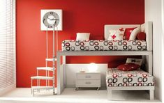 12 Adorable Shared Kids Bedrooms to Inspire You : Minimalist Red and White Shared Kids Bedroom with Unique Staircase Bunk Bed and Wall Clock