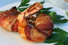 Bacon wrapped Shrimp.