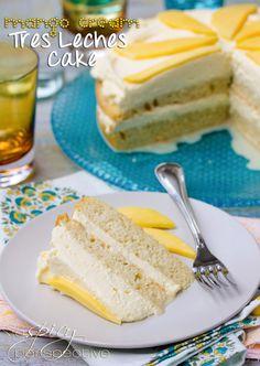 Mango Cream Tres Leches Cake Recipe | ASpicyPerspective...  #cake #mango #tres leches
