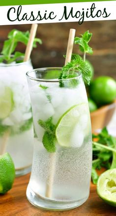 Classic Mojito is a beautiful Cuban cocktail that is slightly sweet and refreshing. There are only five ingredients here: mint, simple syrup, lime juice, rum, and seltzer water. #drink #cocktail #rum #summerdrink #mojito Easy Cocktails, Refreshing Cocktails, Summer Drinks, Classic Cocktails, Fun Drinks, Cocktail Recipes, Beverages, Easy Drink Recipes, Appetizer Recipes