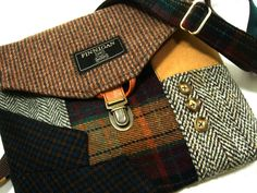Crossbody Purse, Messenger Bag, Wool Purse, Recycled purse brown wool, mens suit coat,