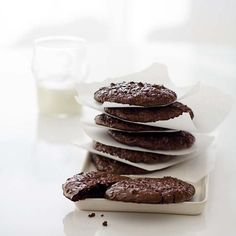 Fudgy Chocolate-Walnut Cookies | These chocolate cookies by François Payard are divinely gooey.