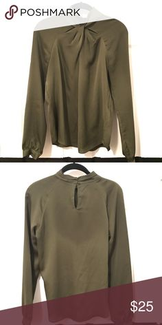 Zara Blouse Olive crepe de chine blouse with twist neckline detail. Back button closure, dolman sleeves. Chic and flattering! Size XS fits like a small. Machine wash cold, tumble dry. Zara Tops Blouses