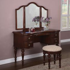 Powell Furniture Marquis Cherry Vanity Set with Mirror