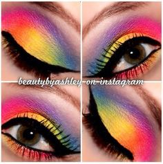 Fabulous Full Glam Makeup Looks To Flaunt This Fall Glam Makeup Look, Crazy Makeup, Beauty Makeup, Makeup Looks, Rainbow Eye Makeup, Rainbow Eyes, Rainbow Wig, Colorful Eye Makeup, Makeup Blog
