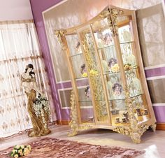 living room furniture- curio cabinet Luxury Home Furniture, Living Room Furniture, Sofa Chair, Wood Carving, Oversized Mirror, Cabinet, House, Home Decor, Ideas