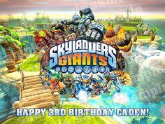 Skylanders GIANTS New Game Edible Photo Birthday by customicing, $10.25