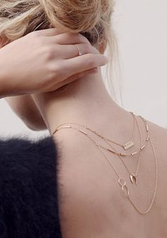 layered delicate necklaces | Pinned by @thefifthwatches