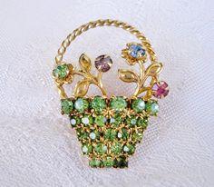 vintage brooch - basket of flowers