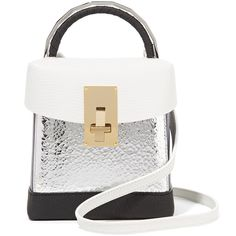 THE VOLON Lunchbox color-block textured-leather shoulder bag found on Polyvore featuring bags, handbags, shoulder bags, silver, polka dot purse, polka dot handbags, white shoulder bag, colorblock handbags and shoulder strap handbags