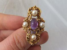 Fine large & heavy Art Nouveau design Amethyst & cultured Pearl 14k gold ring