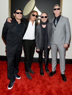 Robert Trujillo, Kirk Hammett, Lars Ulrich, and James Hetfield of Metallica looking fantastic for the Grammy Awards 2014
