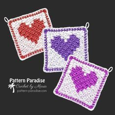 Free Crochet Pattern: C2C Heart Washcloth   Pattern Paradise