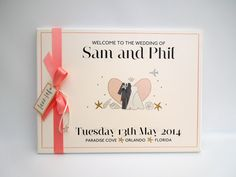 Handmade and illustrated wedding welcome sign for a wedding in Paradise Cove, Orlando, Florida in Coral, Peach and Ivory. Destination and colours can be changed.