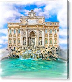 Italian Canvas Print featuring La Dolce Vita - The Trevi Fountain In Rome by Mark E Tisdale
