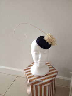 Navy and cream pill box hat Mother Of The Bride Hats, Pillbox Hat, Derby Day, Wedding Hats, Race Day, Ladies Day, Headpiece, Special Occasion, Sculpture