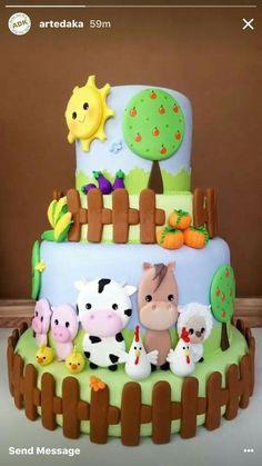 Farm Birthday Cakes, Animal Birthday Cakes, Farm Animal Birthday, Barnyard Cake, Farm Cake, Rodjendanske Torte, Farm Animal Cakes, Occasion Cakes, Cute Cakes