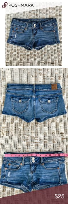 🆕 {American Eagle} Stretch Jean Shorts ✯A wardrobe must-have for warm weather! ✯These shorts never go out of style, and they go with everything! ✯Super comfy and pre-distressed — these will be your new go-to shorts!  {APPROX. MEASUREMENTS Shown in photos} American Eagle Outfitters Shorts Jean Shorts