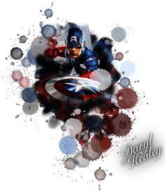 Captain America splash colour watercolour tattoo design I made. #captainamerica #marvel #comics #tattoo