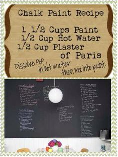 Homemade chalkboard paint recipe