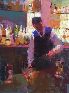 """February's Fabulous Pastels: Aline Ordman, """"Bartender,"""" Terry Ludwig pastels on Colourfix paper, 16 x 12 in"""