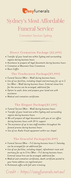 This infographic tell the information about Sydney's Most Affordable Funeral packages and offers. Easy Funeral is one of best funerals services located in Sydney, Australia. For more information call us or visit us Direct Cremation, Cremation Services, Fixed Cost, Funeral Costs, Sydney Australia, Infographic, Easy, Infographics, Info Graphics