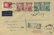 Poland 45g and 60g Polish People's Republic 1951 Krakow Registered Air to London