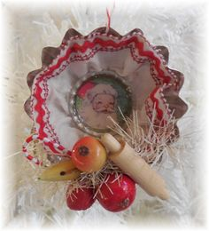 Shop for ornaments on Etsy, the place to express your creativity through the buying and selling of handmade and vintage goods. Pink Christmas Ornaments, Vintage Christmas Crafts, Shabby Chic Christmas, Gold Christmas, Christmas Decorations To Make, Christmas Projects, Handmade Christmas, Christmas Holidays, Country Christmas