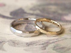 プラチナとゴールドでお作りした多面体の結婚指輪(オーダーメイド/手作り) [マリッジリング,marriage,wedding,ring,bridal,ウエディング,リング,ith,オーダーメイド]