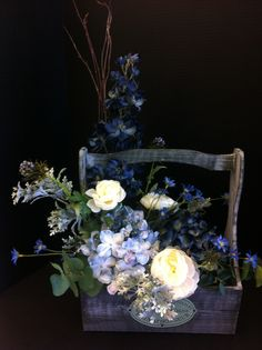 Blue custom floral by Andrea for Michaels of Laverne ca