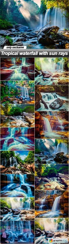 Tropical waterfall with sun rays  15 UHQ JPEG  stock images