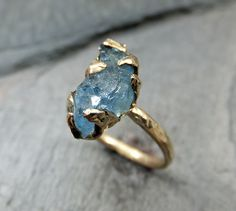 Raw Uncut Rough Aquamarine Solid 14K Gold Ring One of a Kind Gemstone Ring Statement Ring Stacking Ring Cocktail Ring