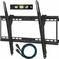 """Cheetah Mounts APTMM2B Soporte de Pared para Televisores y Pantallas LED, LCD y Plasma TV de 32-65"""" (80cm a 165cm) Fijo y Inclinable (distancia de la pared: 3.3cm) Max VESA 684x400 Máximo 75kg, con un Twisted Veins (3m) Resistente Cable HDMI con Ethernet y un Nivel Magnético con 3 Burbujas de 15cm"""