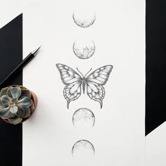 Butterfly Tattoos Images, Butterfly With Flowers Tattoo, Butterfly Tattoo Designs, Henna Tattoo Designs, Line Art Tattoos, Spine Tattoos, Body Art Tattoos, Small Tattoos, Dream Tattoos