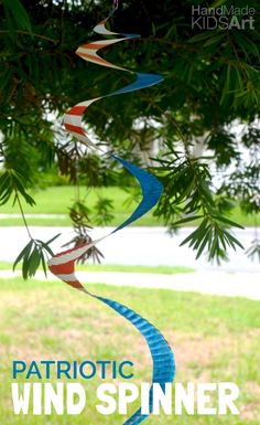 Create an easy patriotic wind spinner from a paper plate. Easy Fourth of July craft for kids.
