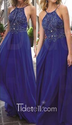 2016 long prom dress with backless, royal blue chiffon prom dress