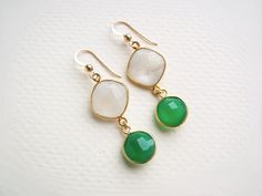 22k Gold Vermeil Green Onyx and White Rainbow Moonstone Earrings by CateKatan on etsy