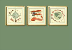 Airplanes Printable Art Print Set for Kid's Room, Nursery Airplanes Wall Art, Boy's Room Decor, Nursery Rhyme Print, Instant Download