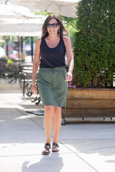 Olive + Black Outfit for Summer
