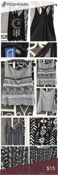 3 Bohemian bundled shirts Set of 3 bohemian looking shirts!! Black moon shirt is an XL. Grey Crop Top and black and white Crop Top are L's!! The black moon shirt has never been worn and the grey Crop Top was worn once. The black and white Crop Top is very faded which is why I'm offering all 3 in a bundle. Can be sold separately if asked!! Super cute for summer! Tops