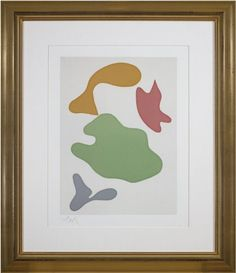 black friday sale fine artwork discount 24% OFF listed price at David Barnett Gallery | inquiries@davidbarnettgallery.com | framed Abstract art colors woodcut | Constellation by artist Jean Hans Arp, 1965