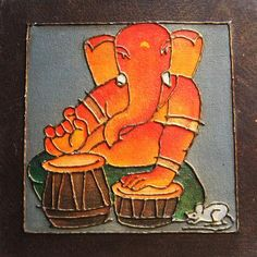 Ganesha painting on Canvas board - 3 - www.itshandmade.in