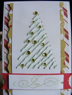 Cabin Fevered Gem: Final Day of Card Week - sewn Christms card Handmade Christmas Tree, Christmas Card Crafts, Homemade Christmas Cards, Christmas Tree Cards, Noel Christmas, Homemade Cards, Holiday Crafts, Christmas Decorations, Simple Christmas