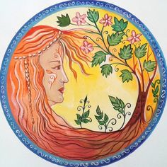 Watercolor Mandala, Spring Fairy, Circle Of Life, Mother Earth, Colored Pencils, My Drawings, Colouring Pencils, Color Crayons, Cycle Of Life