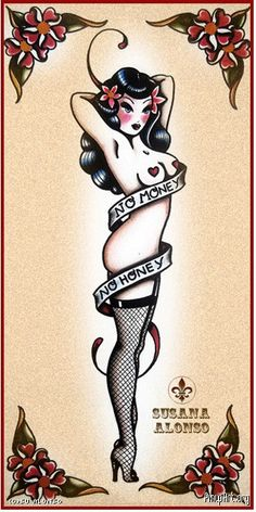 No money no honey racy pin up old school traditional nude fishnets Tattoo Flash Art ~A.R.