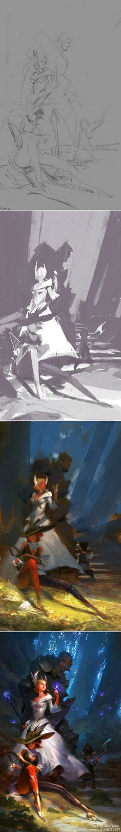 This is beautiful. Drawing process by 微相册.
