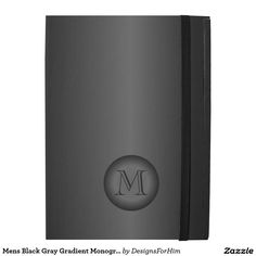 Mens Black Gray Gradient Monogram