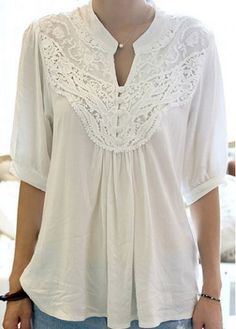 Chic Half Sleeve Lace Splicing White T Shirt