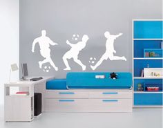 Soccer Wall Decal Three Soccer Players Vinyl by AirlieCreations
